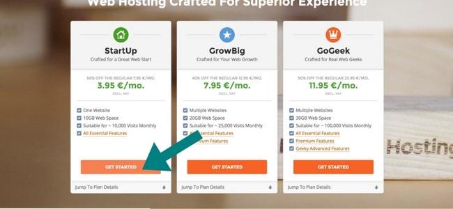 Je kunt bij siteground kiezen tussen 3 pakketen. Ik raad zelf de kleinste pakket aan voor beginners.
