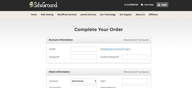 De betaalpagina als je webhosting wil zonder ideal.