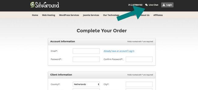 Als je met iDEAL betaalt dan moet je contact met de siteground medewerkers opnemen.