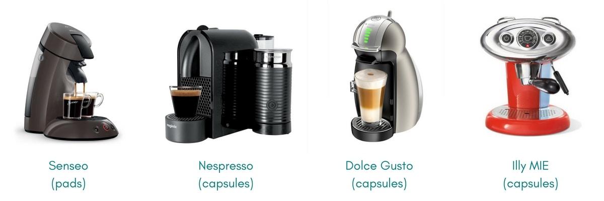 Afbeeldingen cupmachine en padmachine Senseo Nespresso Dolce Gusto Illy MIE